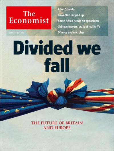 ภาพที่2 : ปกนิตยสาร The Economist ที่ตีพิมพ์หนึ่งสัปดาห์ก่อนวันลงประชามติ....โดยภาพหน้าปกแสดงถึงการผูกพันกันอย่างลึกซี้งระหว่างอังกฤษและสหภาพยุโรป และคำโปรยหน้าปกยังระบุเป็นนัยว่า การแยกออกจากกันจะนำพาซึ่งการตกต่ำร่วมกันของทั้งอังกฤษและสหภาพยุโรป