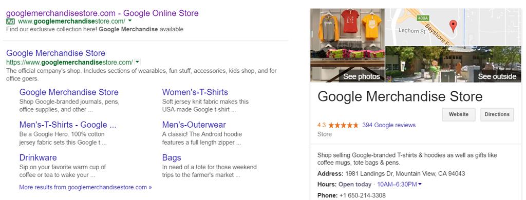 หน้าโฆษณาของ Google Merchandise Store ใน AdWords