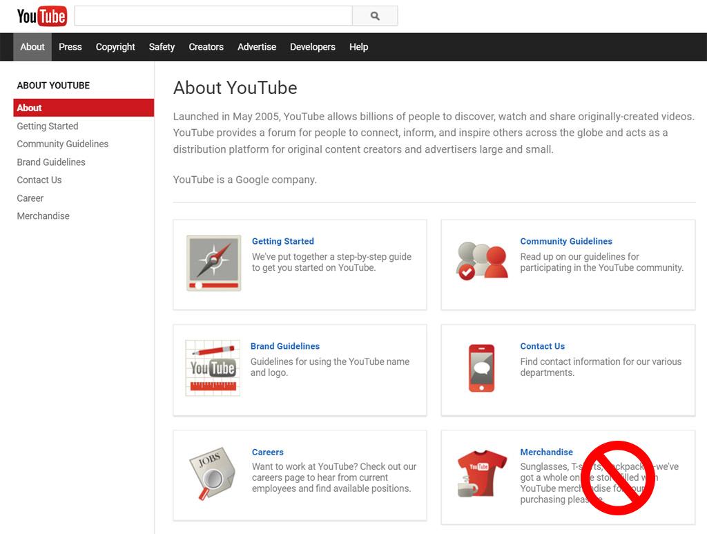 YouTube-Merchandise-deadlink