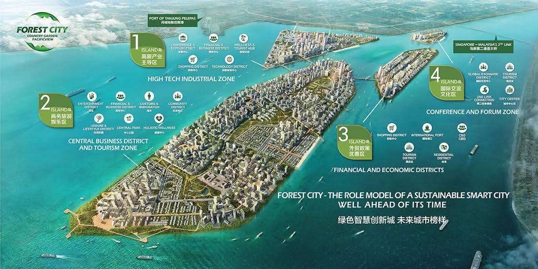 แผนที่โครงการ Forest City บนเกาะใกล้ชายแดนสิงคโปร์