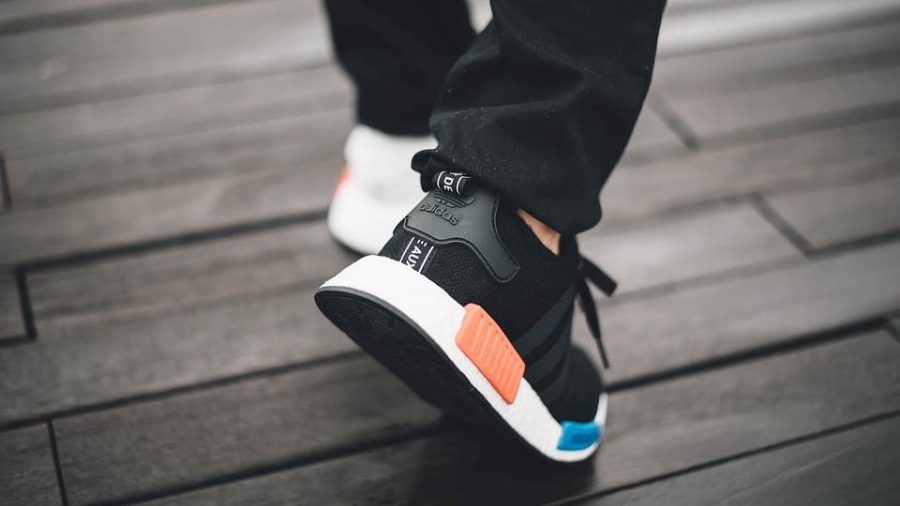 Adidas NMD black color oragne and blue plug
