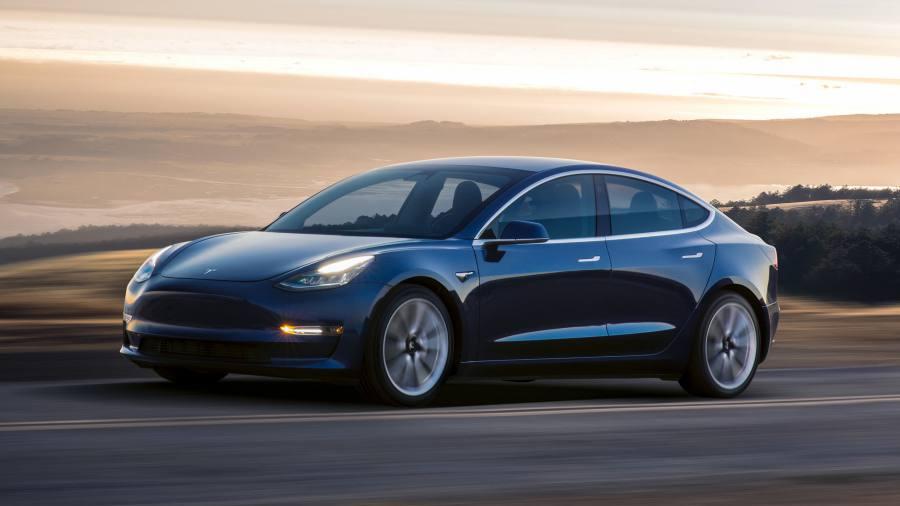 Tesla Model 3 Blue Color on Road