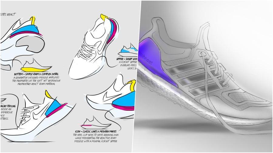การออกแบบของรองเท้าทั้งสองรุ่นของ Nike React และ Adidas Ultra Boost