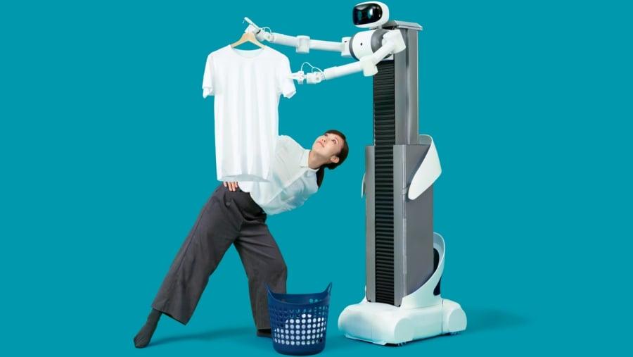 """ugo"" หุ่นยนต์ซักผ้า-ตากผ้า Photo: Mira Robotics"