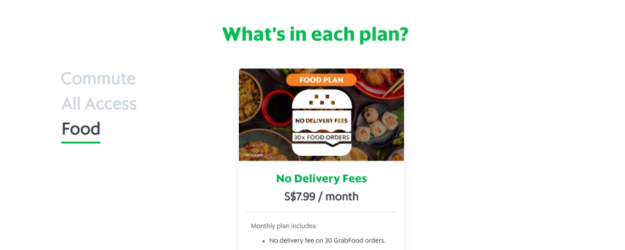 ตัวอย่างโมเดล Subscription ของ Grab สิงคโปร์