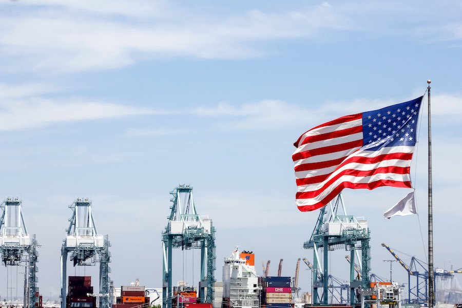 USA Flag Container Port