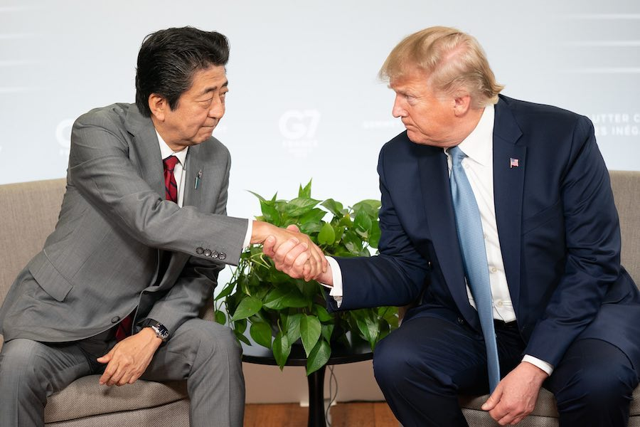 Shinzo Abe Donald Trump G-7 France 2019
