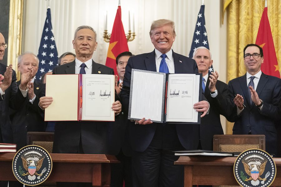 Donald Trump Liu He Trade Deal Phase 1 ทรัมป์ ข้อตกลงทางการค้า