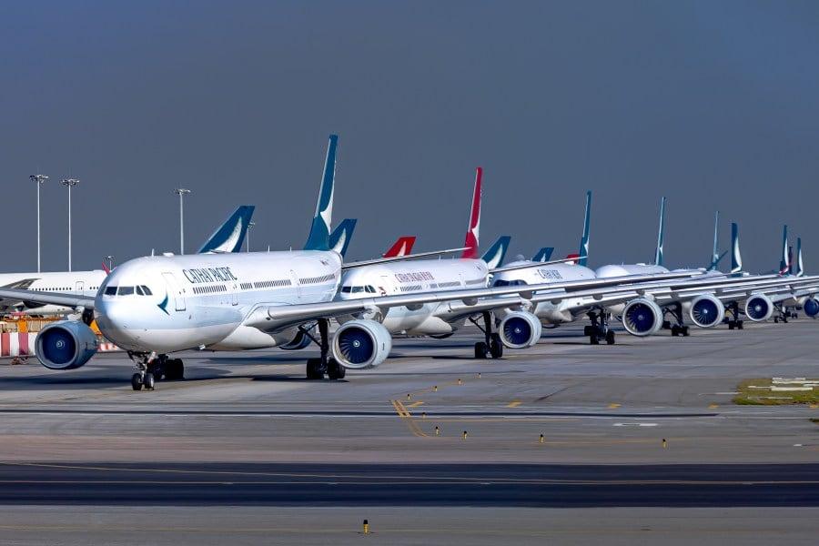 Cathay Pacific Planes park at Hong Kong Airport