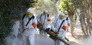 Wuhan China Staff Cleaning COVID-19 Coronavirus