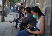Thai People Waiting Bus COVID-19 masks