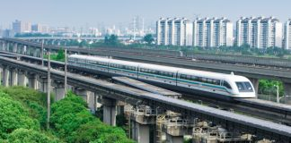 Shanghai magnetic levitation (maglev) train departure for Pudong airport.This train link Pudong international airport with Shanghai downtown area.