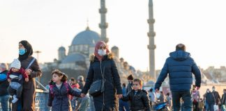 Istanbul Turkey People wear face masks