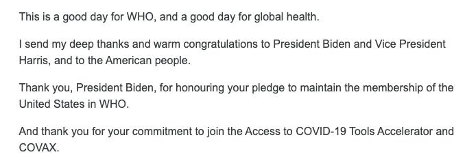 ผู้อำนวยการองค์การอนามัยโลกกล่าวขอบคุณ Biden ที่กลับมาร่วมมือกับ WHO