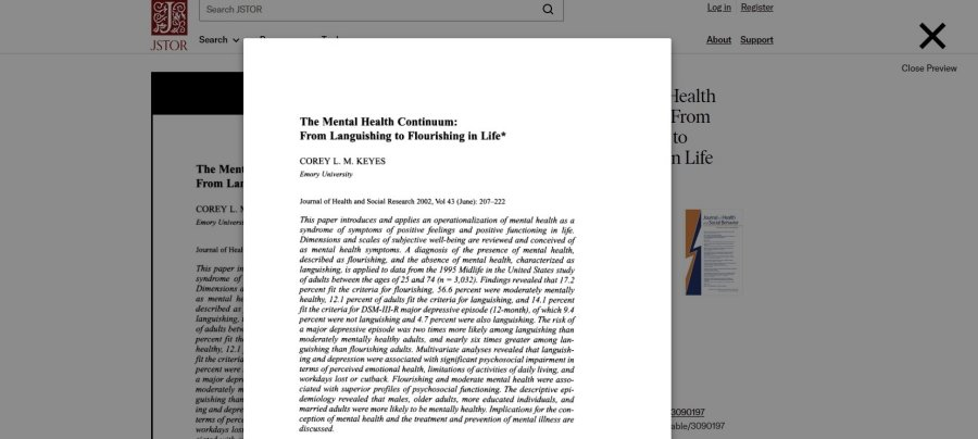 The Mental Health Continuum: From Languishing to Flourishing in Life (2002)