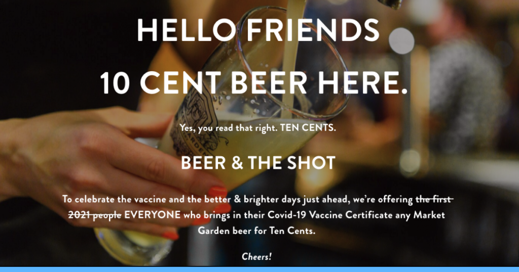 free beer for vaccination
